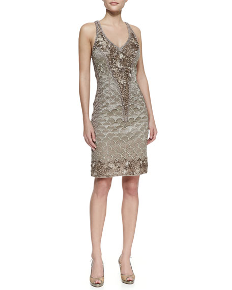 Embroidered Halter Cocktail Dress, Taupe