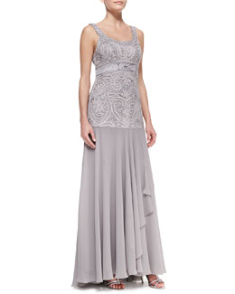 Sue Wong Sleeveless Beaded Full-Skirt Gown, Platinum
