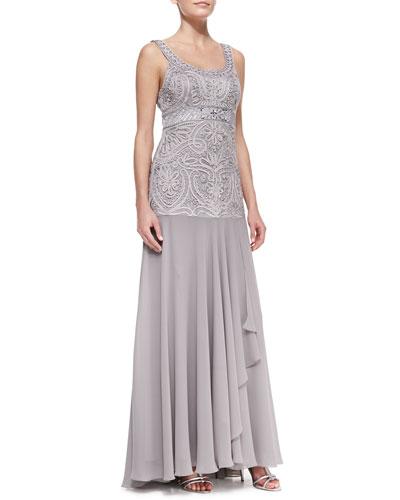 Sue Wong Sleeveless Beaded Full-Skirt Gown, Platinum