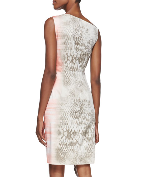 Emory Snake-Print Dress with Leather Shoulder Strap