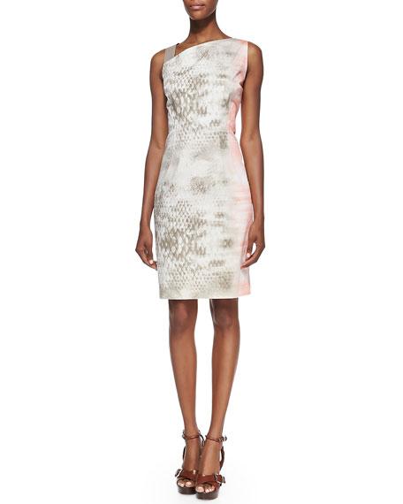 Emory Snake-Print Dress with Leather Shoulder Strap