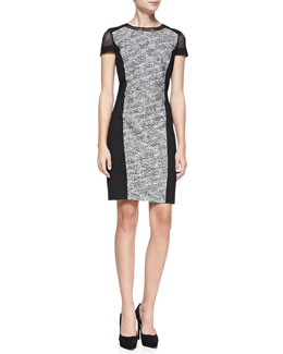 Elie Tahari Jaylene Ponte-Panel Tweed Sheath Dress