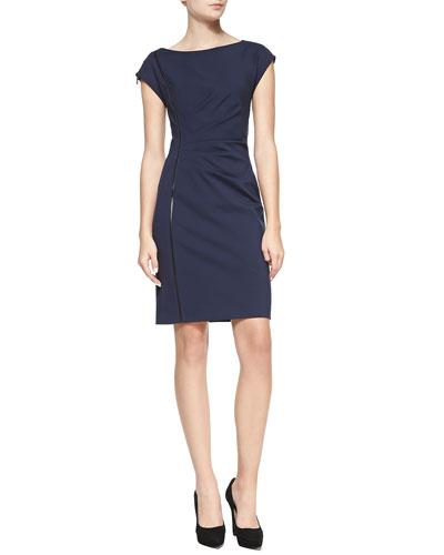Elie Tahari Landi Cap-Sleeve Dress with Faux Leather Detail