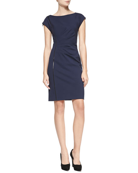 Landi Cap-Sleeve Dress with Faux Leather Detail