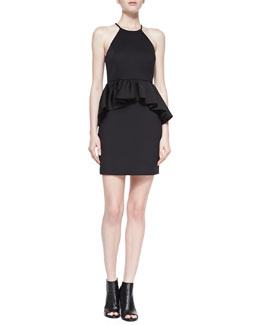 Ali Ro Halter Peplum Dress, Black
