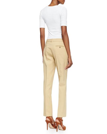 Stretch Wool Skinny Pants, Beige