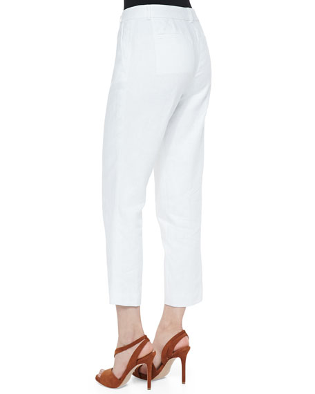Lined Linen Ankle Pants, White