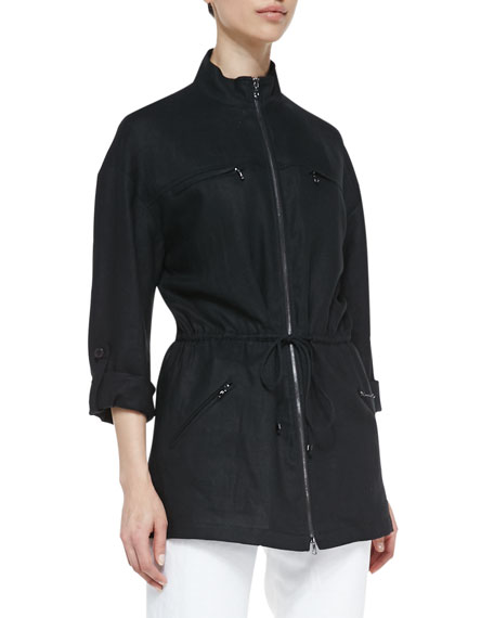 Magaschoni Easy Zip-Front Drawstring Jacket, Black