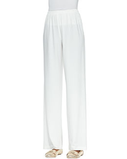 Caroline Rose Straight-Leg Jersey Pants, White