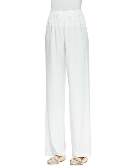 Straight-Leg Jersey Pants, White