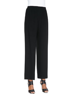 Caroline Rose Wide-Leg Ankle Pants, Black