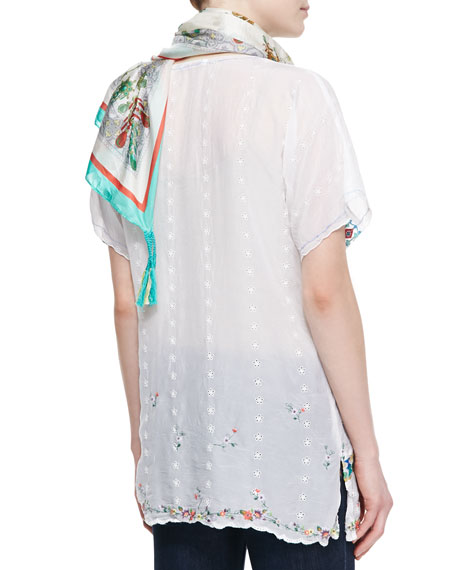 Colorful Daisy Eyelet Blouse, Women's