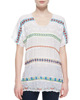 Johnny Was Collection Colorful Daisy Eyelet Blouse