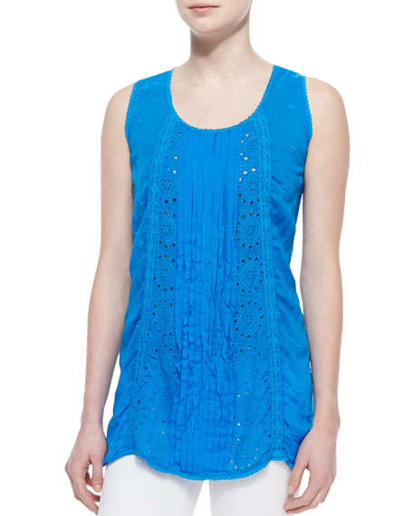 Eyelet Pintucked Sleeveless Tunic