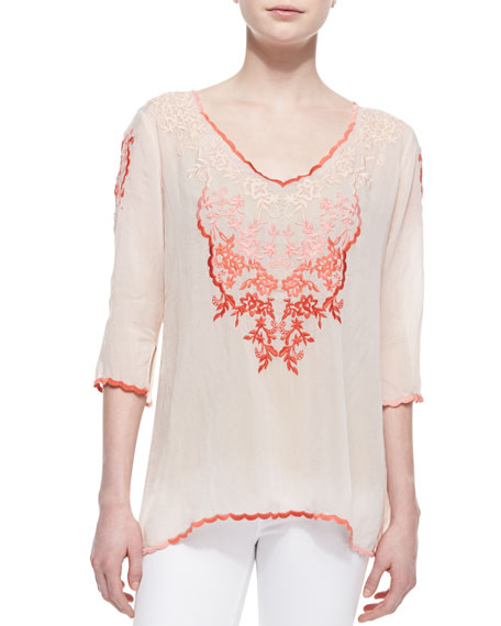 Baudelio 3/4-Sleeve Embroidered Blouse, Blush