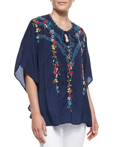 Johnny Was Collection Stella Embroidered Poncho Top