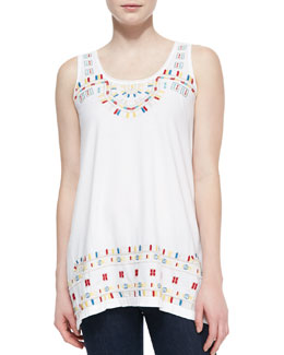 JWLA for Johnny Was Roslyn Asymmetric Embroidered Long Tunic Tank,  Women's