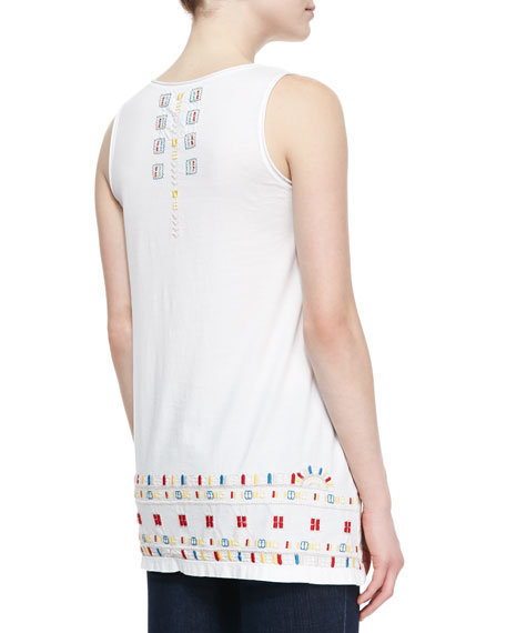 Roslyn Asymmetric Embroidered Long Tunic Tank