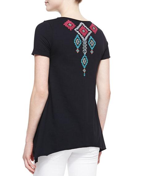 Shiri Embroidered Sweatshirt Tee, Women's