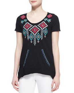 JWLA for Johnny Was Shiri Embroidered Sweatshirt Tee, Women's