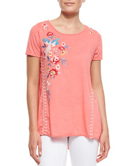 JWLA for Johnny Was Shevaun Draped & Embroidered Tee