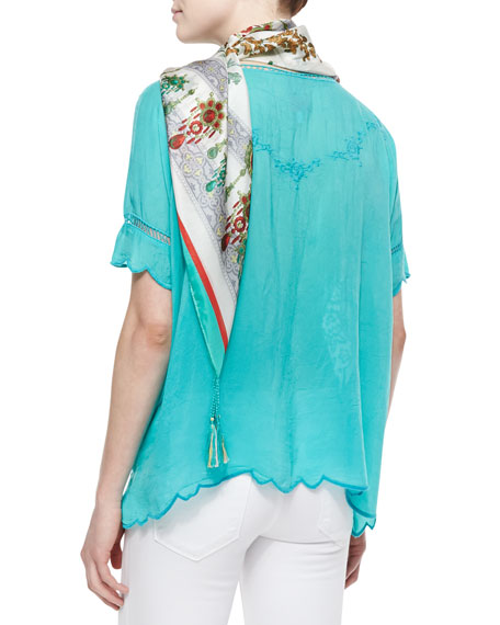 Short-Sleeve Embroidered Rose Scalloped Top, Aqua Jade, Women's