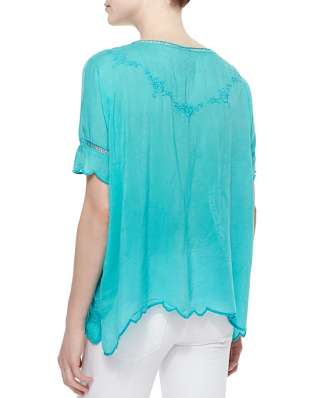 Short-Sleeve Embroidered Rose Scalloped Top, Aqua Jade