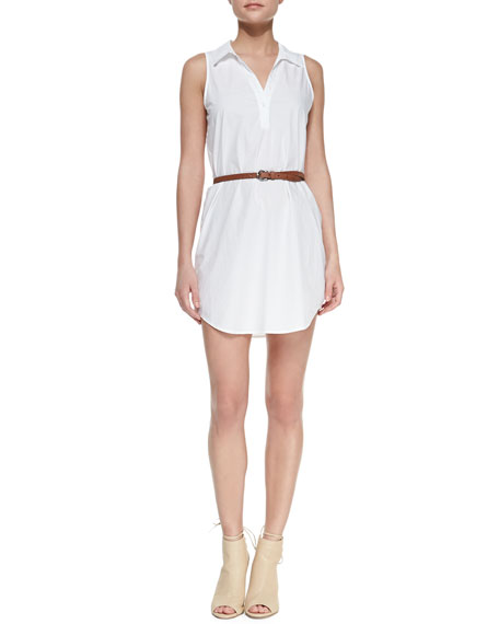 Darlena Sleeveless Belted Cotton Shirtdress