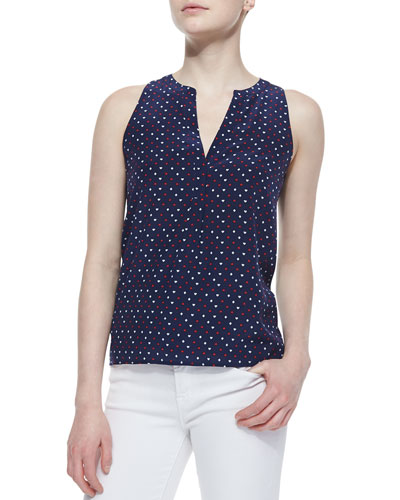 Joie Aruna Playing Cards Silk Printed Tank Top