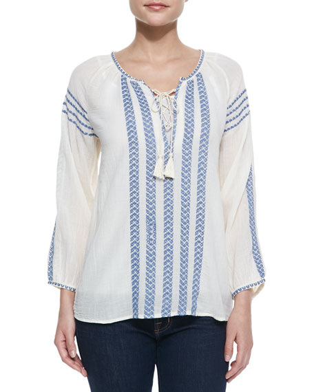 Calonice Embroidered Long-Sleeve Top