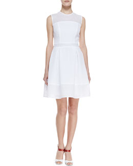 Nha Khanh Alma Eyelet & Pleated Dress