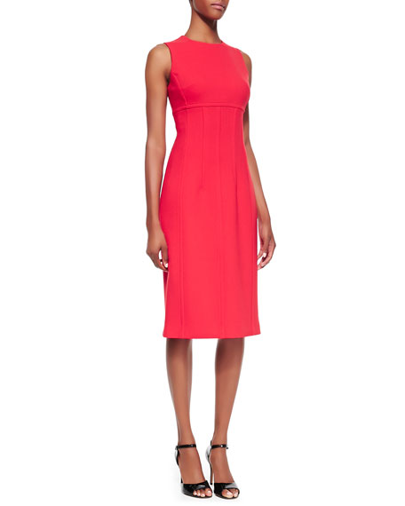 Stretch Boucle Crepe Sleeveless Sheath Dress, Coral