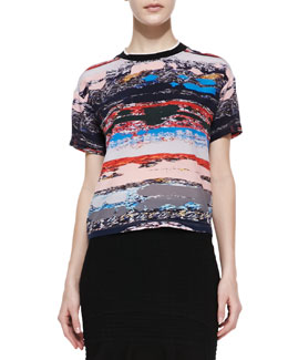 Opening Ceremony Terazzo Printed-Silk Short-Sleeve Shirt