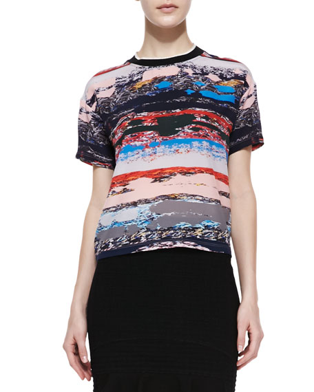 Terazzo Printed-Silk Short-Sleeve Shirt