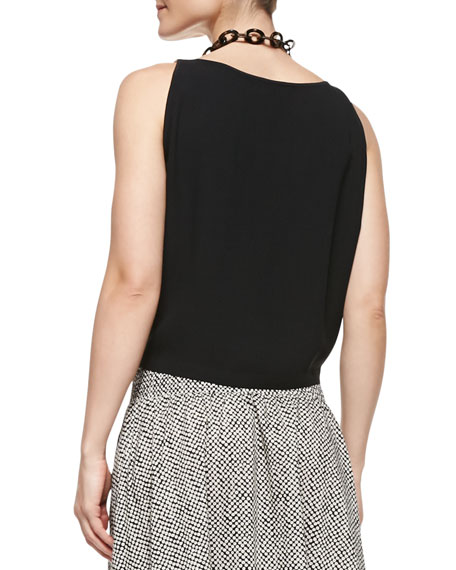 Silk Georgette Short Tank, Black