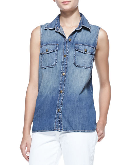 The Sleeveless Perfect Chambray Shirt