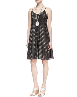 Eileen Fisher Silk Ikat Dot Cami Dress, Ash