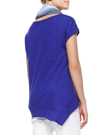 Cap-Sleeve Linen Asymmetric Top, Blue Violet, Women's
