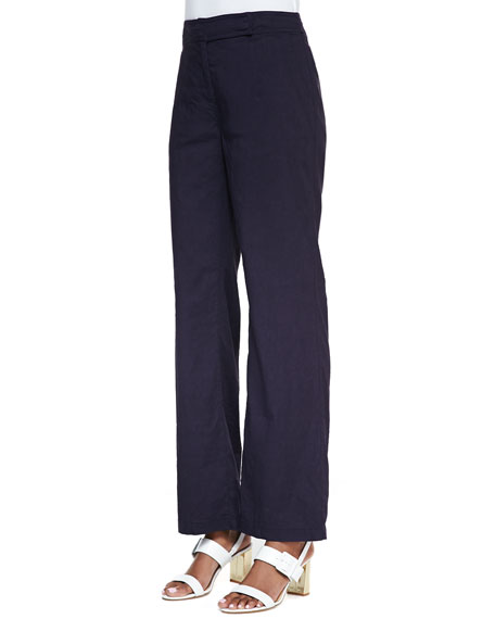 Linen-Blend Straight-Leg Trousers, Midnight