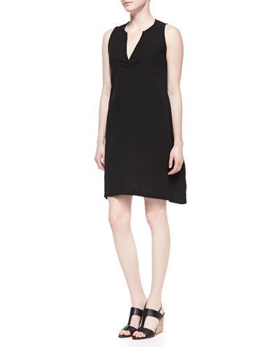 Eileen Fisher Split-Neck Sleeveless Dress , Petite