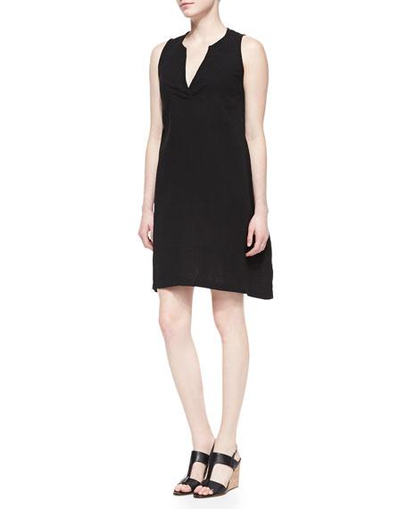 Split-Neck Sleeveless Dress , Petite