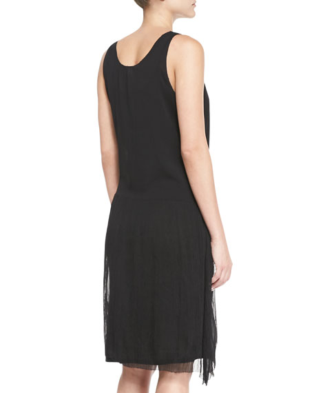 Gathered Tank Dress, Black