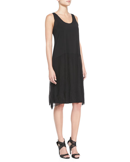 Gathered Tank Dress, Black