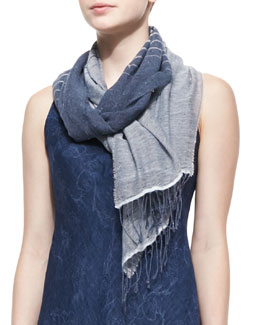 Eileen Fisher Linen & Denim Striped Scarf