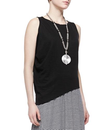 Eileen Fisher Organic Linen Asymmetric Sleeveless Top, Black, Petite
