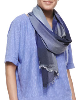 Eileen Fisher Hazy Color-Shift Plaid Scarf, Blue Violet