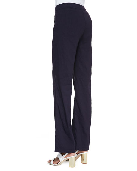 Linen-Blend Straight-Leg Trousers, Midnight