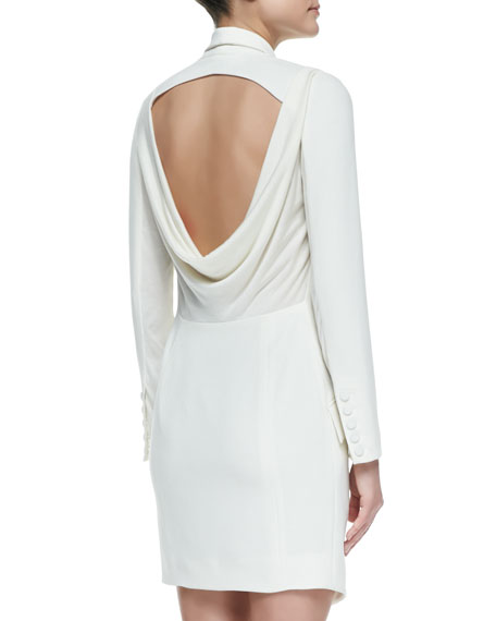 Haute Hippie Cowl-Back Long-Sleeve Tuxedo Dress