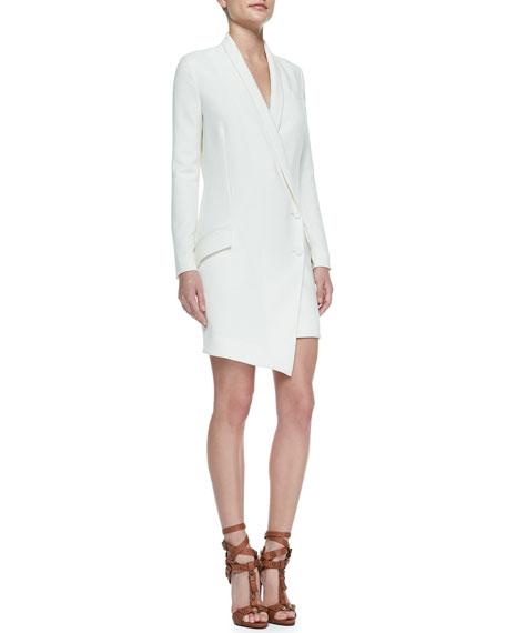 Cowl-Back Long-Sleeve Tuxedo Dress