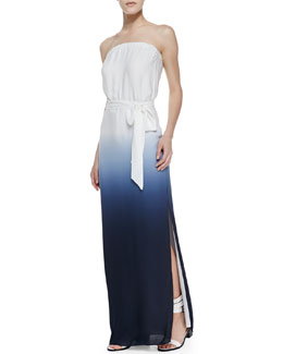 Haute Hippie Strapless Ombre V-Back Maxi, Swan/Midnight